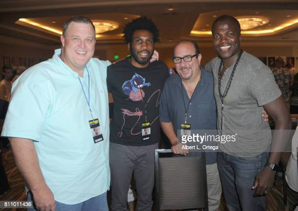 Actors Billy Gardell Nyambi Nyambi Louis Mustillo and Reno Wilson sign autographs at The Hollywood Show held at Westin LAX Hotel on July 8 2017 in...
