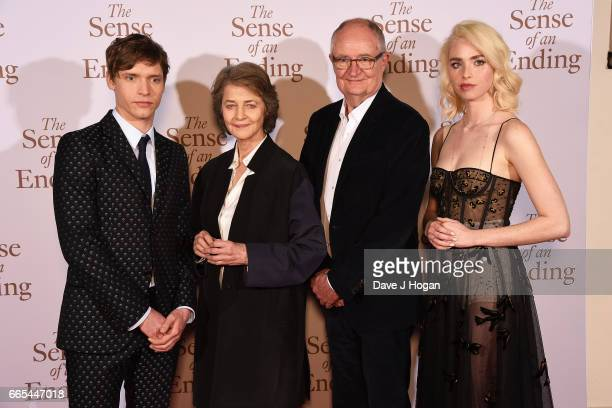 Actors Billy Howle Charlotte Rampling Jim Broadbent and Freya Mavor attend 'The Sense of an Ending' UK gala screening on April 6 2017 in London...