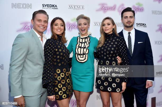 Actors Billy Magnussen Aubrey Plaza Pom Klementieff and Elizabeth Olsen and director Matt Spicer at the premiere of Neon's 'Ingrid Goes West' at...