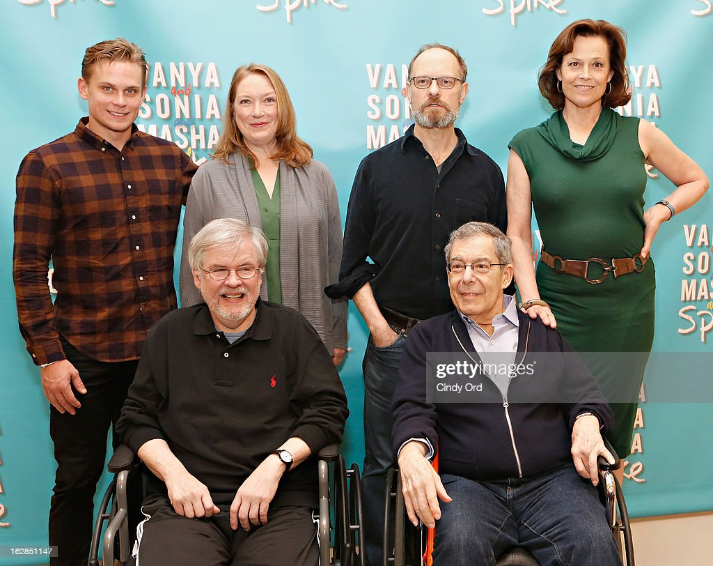 Actors <a gi-track='captionPersonalityLinkClicked' href=/galleries/search?phrase=Billy+Magnussen&family=editorial&specificpeople=5408596 ng-click='$event.stopPropagation()'>Billy Magnussen</a>, Kristine Nielsen, <a gi-track='captionPersonalityLinkClicked' href=/galleries/search?phrase=David+Hyde+Pierce&family=editorial&specificpeople=210743 ng-click='$event.stopPropagation()'>David Hyde Pierce</a>, <a gi-track='captionPersonalityLinkClicked' href=/galleries/search?phrase=Sigourney+Weaver&family=editorial&specificpeople=201647 ng-click='$event.stopPropagation()'>Sigourney Weaver</a> pose behind playwright Christopher Durang (L) and Director Nicholas Martin at the 'Vanya And Sonia And Masha And Spike' Broadway Press Preview at The New 42nd Street Studios on February 28, 2013 in New York City.