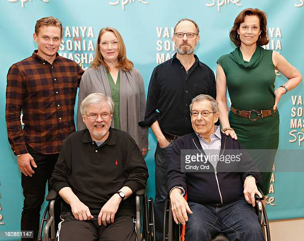 Actors Billy Magnussen Kristine Nielsen David Hyde Pierce Sigourney Weaver pose behind playwright Christopher Durang and Director Nicholas Martin at...