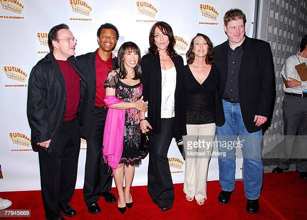 Actors Billy West Phil LaMarr Lauren Tom Katey Sagal Tress MacNeille and John DiMaggio pose at the premiere screening of the new DVD 'Futurama...