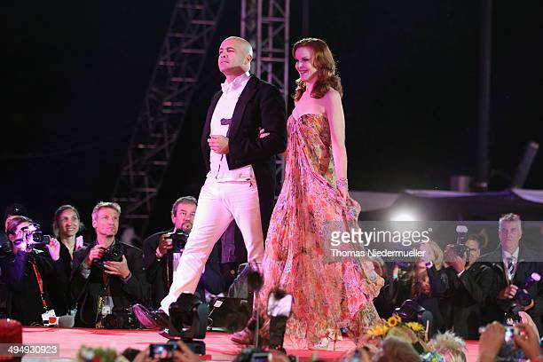 Actors Billy Zane and Marcia Cross are seen on stage during the Lifeball 2014 at City Hall on May 31 2014 in Vienna Austria