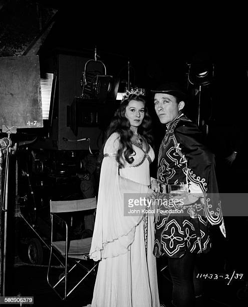 Actors Bing Crosby and Rhonda Fleming on the set of the film 'A Connecticut Yankee in King Arthur's Court' for Paramount Pictures 1949