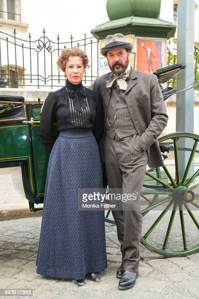 Actors Birgit Minichmayr as Bertha von Suttner and Sebastian Koch as Alfred Nobel pose during the 'Madame Nobel' set visit on May 26 2014 in Vienna...