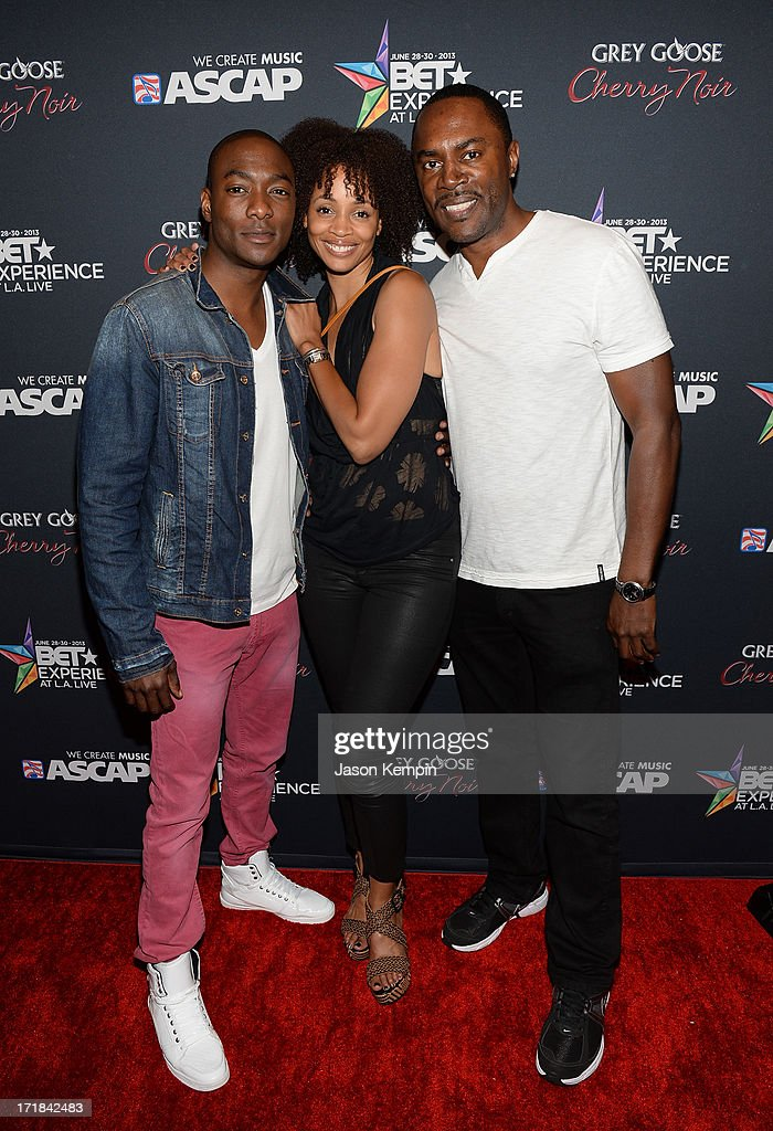 Actors B.J. Britt, Latarsha Rose, and Richard Brooks arrive at the Grey Goose Cherry Noir Flavored Vodka VIP after party during the 2013 BET Experience at The Conga Room at L.A. Live on June 28, 2013 in Los Angeles, California.