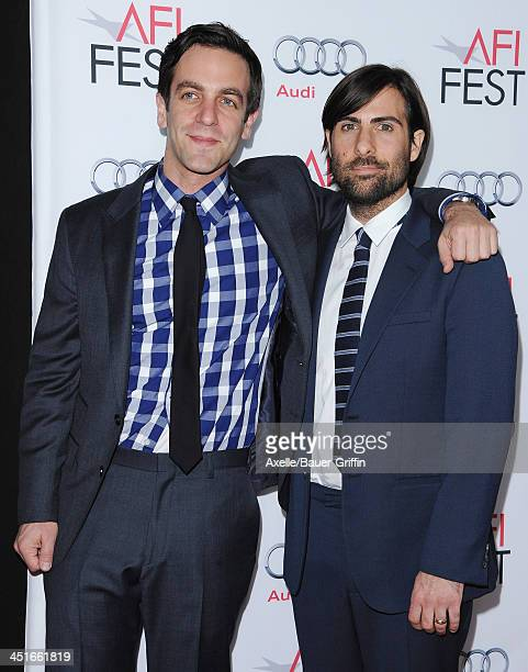 Actors BJ Novak and Jason Schwartzman arrive at AFI FEST 2013 Opening Night Gala premiere of 'Saving Mr Banks' at TCL Chinese Theatre on November 7...