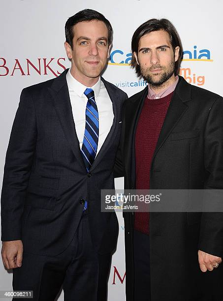 Actors BJ Novak and Jason Schwartzman attend the premiere of 'Saving Mr Banks' at Walt Disney Studios on December 9 2013 in Burbank California