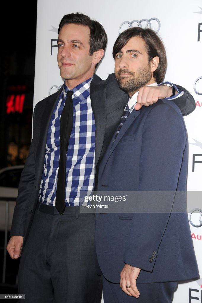Actors <a gi-track='captionPersonalityLinkClicked' href=/galleries/search?phrase=B.J.+Novak&family=editorial&specificpeople=745545 ng-click='$event.stopPropagation()'>B.J. Novak</a> (L) and <a gi-track='captionPersonalityLinkClicked' href=/galleries/search?phrase=Jason+Schwartzman&family=editorial&specificpeople=216351 ng-click='$event.stopPropagation()'>Jason Schwartzman</a> attend the premiere of Walt Disney Pictures' 'Saving Mr. Banks' during AFI FEST 2013 presented by Audi at TCL Chinese Theatre on November 7, 2013 in Hollywood, California.