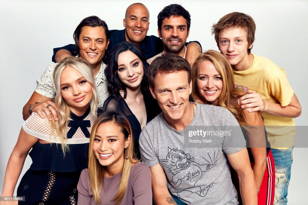 Actors Blair Redford, Coby Bell, Sean Teale and Percy Hynes-White. (Bottom L-R) Actors Natalie Alyn Lind, Jamie Chung, Emma Dumont, Stephen Moyer and Amy Acker of FOX's 'The Gifted' pose for a portrait during Comic-Con 2017 at Hard Rock Hotel San Diego on July 22, 2017 in San Diego, California.