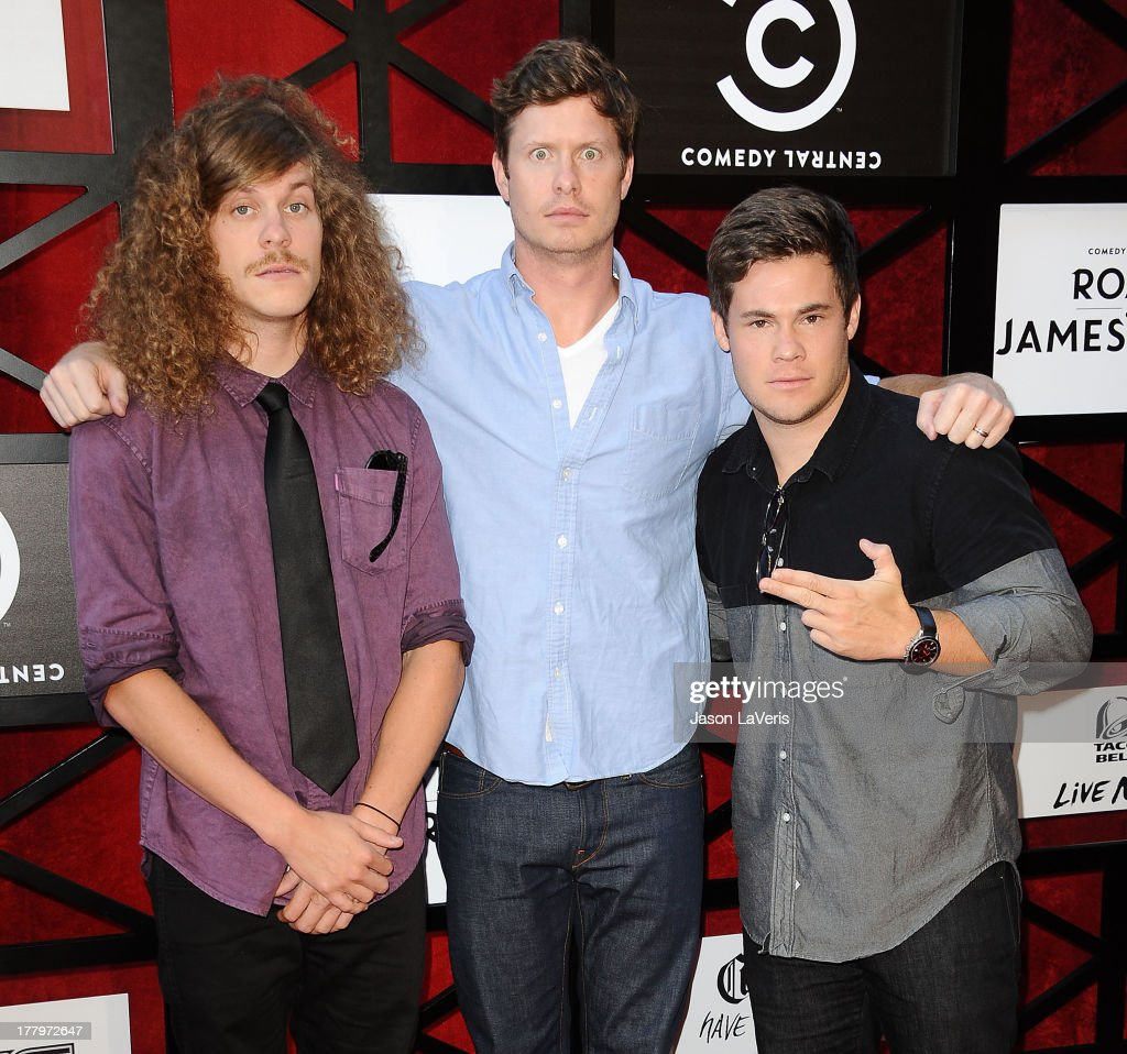 Actors Blake Anderson, Anders Holm and <a gi-track='captionPersonalityLinkClicked' href=/galleries/search?phrase=Adam+DeVine&family=editorial&specificpeople=4151606 ng-click='$event.stopPropagation()'>Adam DeVine</a> attend the Comedy Central Roast of James Franco at Culver Studios on August 25, 2013 in Culver City, California.