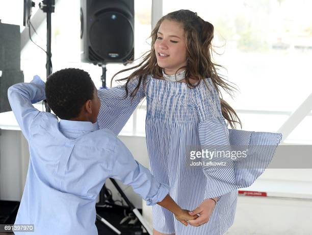 Actors Blake Anthony Crawford and Chiara D'Ambrosio are seen dancing at the DoctorFrankcom Memorial Day Yacht Cruise on May 29 2017 in Marina del Rey...