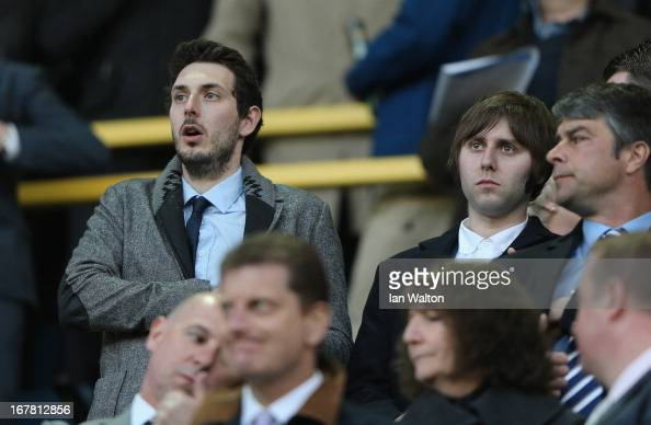 Actors Blake Harrison and James Buckley from The Inbetweeners attend the npower Championship match between Millwall and Crystal Palace at The New Den...