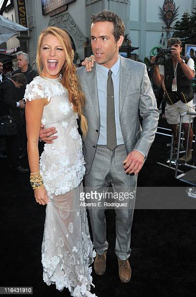 Actors Blake Lively and Ryan Reynolds arrive at the premiere of Warner Bros Pictures' 'Green Lantern' held at Grauman's Chinese Theatre on June 15...