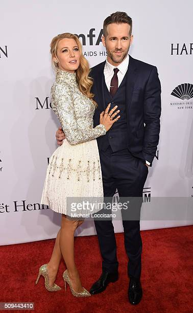 Actors Blake Lively and Ryan Reynolds attend 2016 amfAR New York Gala at Cipriani Wall Street on February 10 2016 in New York City