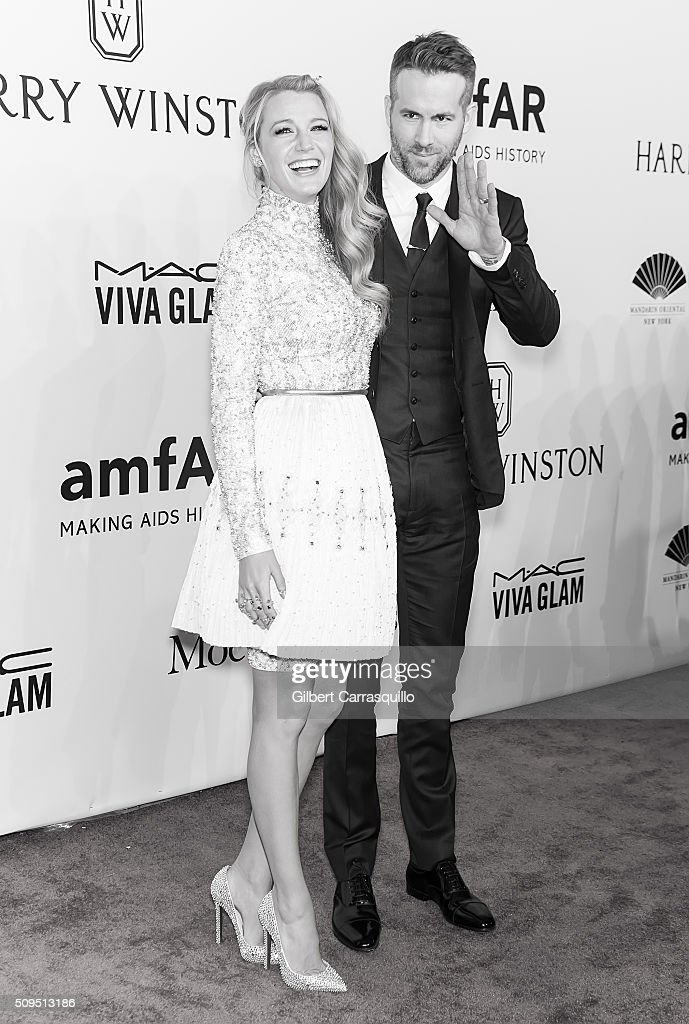 Actors Blake Lively and Ryan Reynolds attend the 2016 amfAR New York Gala at Cipriani Wall Street on February 10, 2016 in New York City.