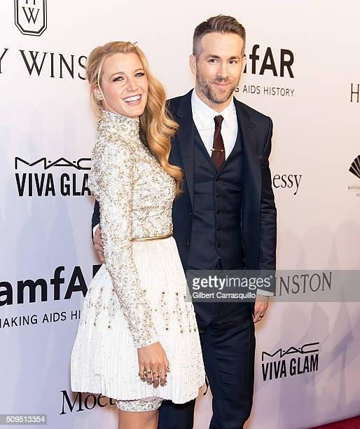 Actors Blake Lively and Ryan Reynolds attend the 2016 amfAR New York Gala at Cipriani Wall Street on February 10 2016 in New York City