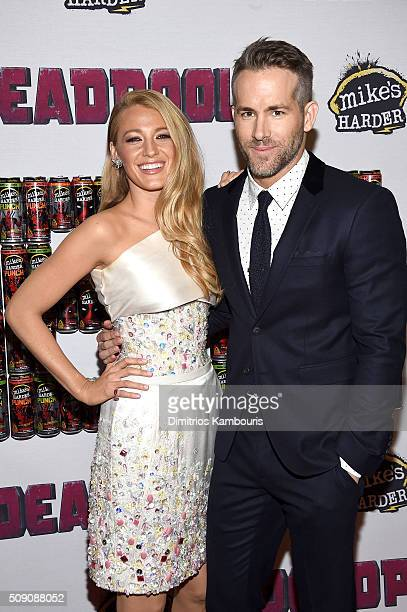 Actors Blake Lively and Ryan Reynolds attend the 'Deadpool' fan event at AMC Empire Theatre on February 8 2016 in New York City