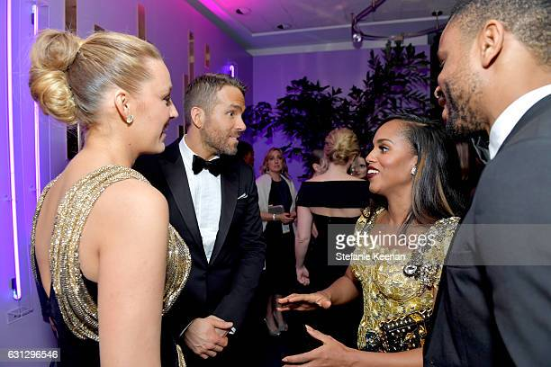 Actors Blake Lively Ryan Reynold and Kerry Washington attend The 2017 InStyle and Warner Bros 73rd Annual Golden Globe Awards PostParty at The...