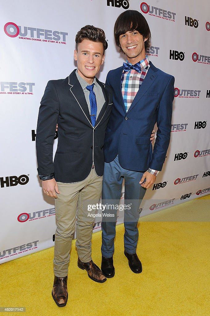 Actors Blake McIver and Emerson Collins attend the 2014 Outfest opening night gala of 'Life Partners' at Orpheum Theatre on July 10, 2014 in Los Angeles, California.