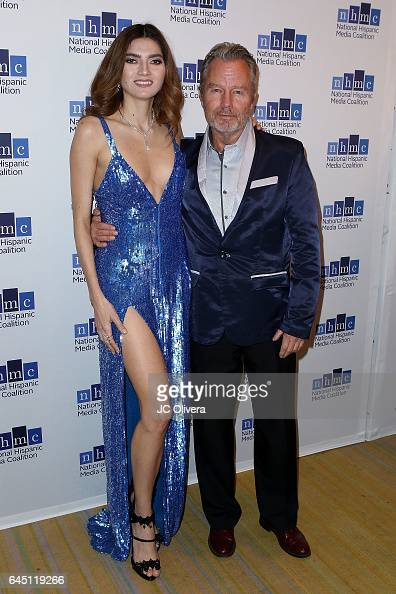 Actors Blanca Blanco and John Savage attend the 20th Annual National Hispanic Media Coalition Impact Awards Gala at Regent Beverly Wilshire Hotel on...