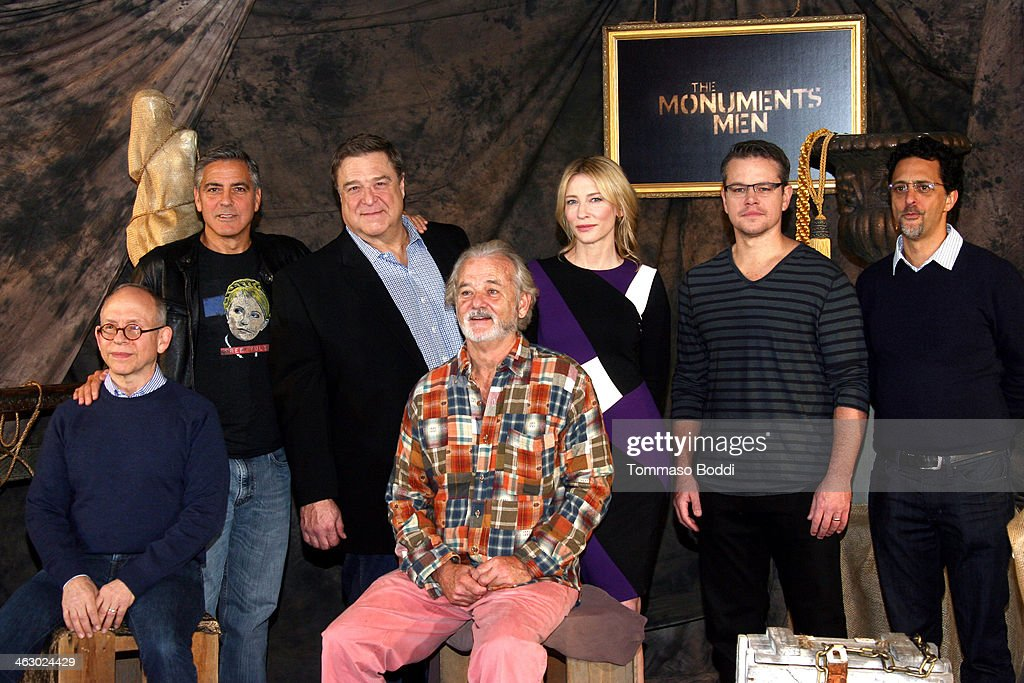 actors Bob Balaban George Clooney John Goodman Bill Murray Cate Blanchett Matt Damon and Grant Heslov attend the 'The Monuments Men' Los Angeles...