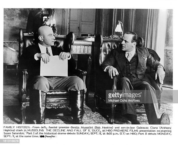 Actors Bob Hoskins and Anthony Hopkins on the set of the TV Movie 'Mussolini and I' in 1985