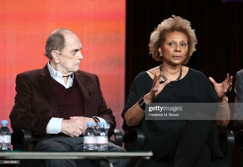 Actors <a gi-track='captionPersonalityLinkClicked' href=/galleries/search?phrase=Bob+Newhart&family=editorial&specificpeople=208111 ng-click='$event.stopPropagation()'>Bob Newhart</a> and <a gi-track='captionPersonalityLinkClicked' href=/galleries/search?phrase=Leslie+Uggams&family=editorial&specificpeople=213729 ng-click='$event.stopPropagation()'>Leslie Uggams</a> speak onstage during the 'Pioneers of Television, Season 4, 'Acting Funny', 'Breaking Barriers', 'Doctors and Nurses', and 'Standup to Sitcom' ' panel discussion at the PBS portion of the 2014 Winter Television Critics Association tour at Langham Hotel on January 21, 2014 in Pasadena, California.