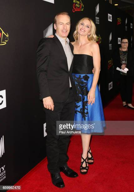 Actors Bob Odenkirk and Rhea Seehorn attend the premiere of AMC's 'Better Call Saul' Season 3 at Arclight Cinemas Culver City on March 28 2017 in...