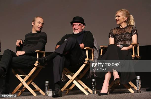 Actors Bob Odenkirk Jonathan Banks and Rhea Seehorn attend the FYC screening and panel discussion of Better Call Saul moderated by Andy Richter...