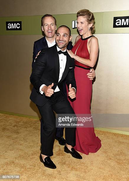 Actors Bob Odenkirk Michael Mando and Rhea Seehorn arrive at the AMC Networks' 68th Primetime Emmy Awards AfterParty Celebration at BOA Steakhouse on...