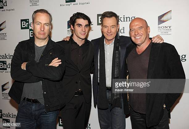 Actors Bob Odenkirk RJ Mitte Bryan Cranston and Dean Norris arrive at the screening of 'No Half Measures Creating The Final Season Of Breaking Bad'...