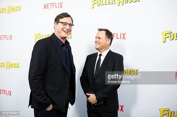 Actors Bob Saget and Dave Coulier attend the premiere of Netflix's 'Fuller House' at Pacific Theatres at The Grove on February 16 2016 in Los Angeles...