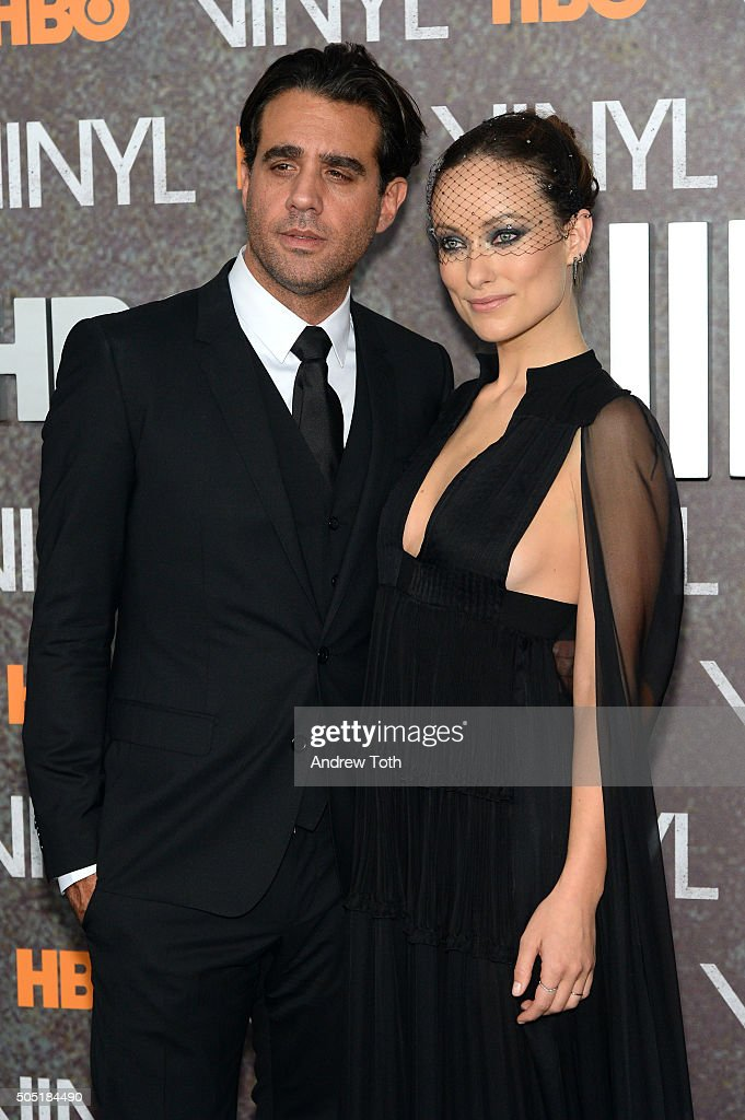Actors Bobby Cannavale and Olivia Wilde attend the 'Vinyl' New York premiere at Ziegfeld Theatre on January 15 2016 in New York City