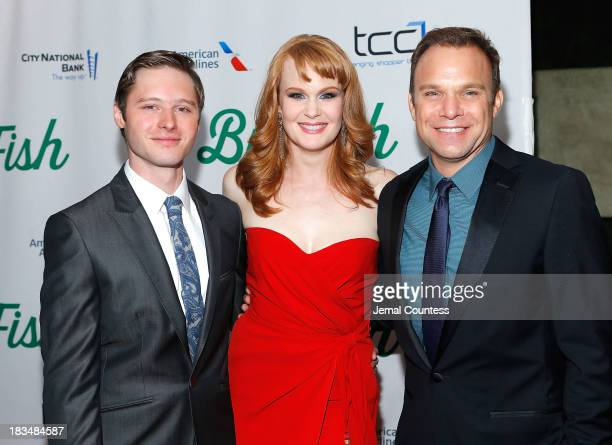 Actors Bobby Steggert Kate Baldwin and Norbert Leo Butz attend the 'Big Fish' Broadway Opening Night After Party at Roseland Ballroom on October 6...