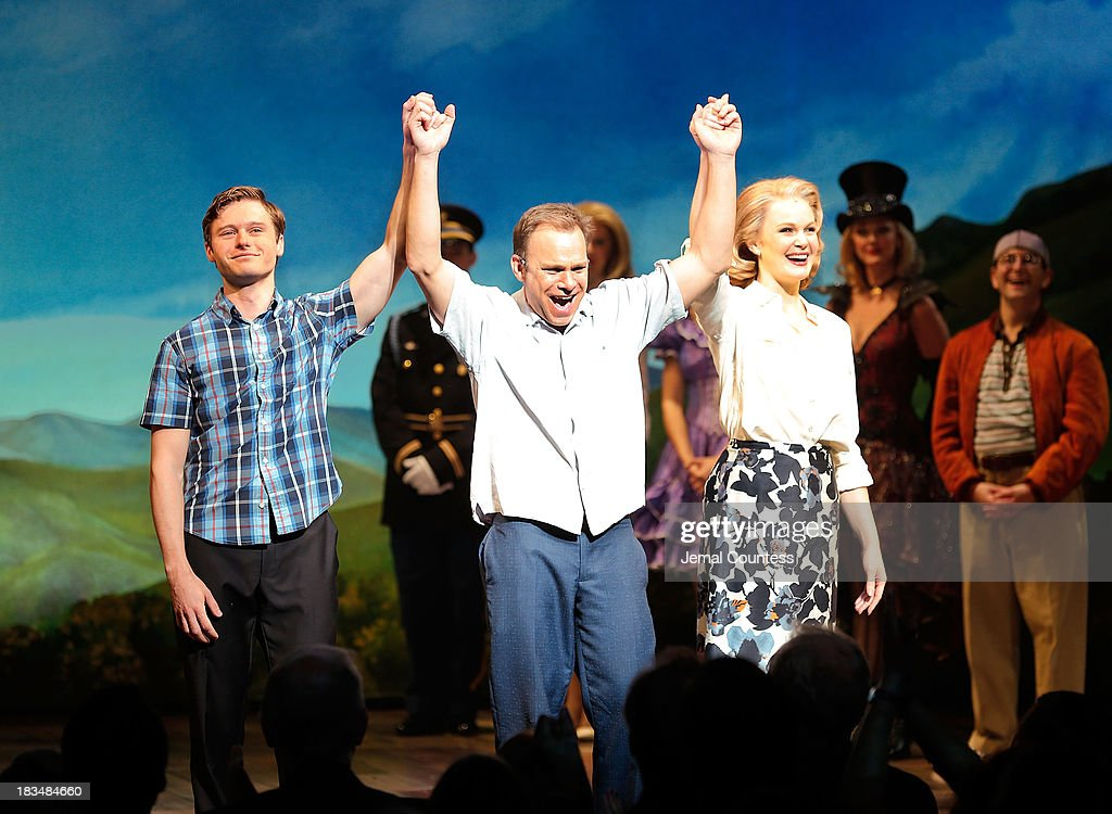 Actors Bobby Steggert, Norbert Leo Butz and Kate Baldwin take a bow during curtain call at the Broadway opening night of 'Big Fish' at Neil Simon Theatre on October 6, 2013 in New York City.