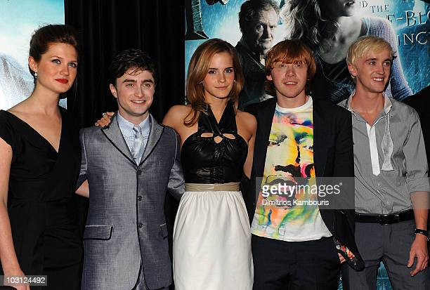 Actors Bonnie Wright Daniel Radcliffe Emma Watson Rupert Grint and Tom Felton attend the 'Harry Potter and the HalfBlood Prince' premiere at Ziegfeld...