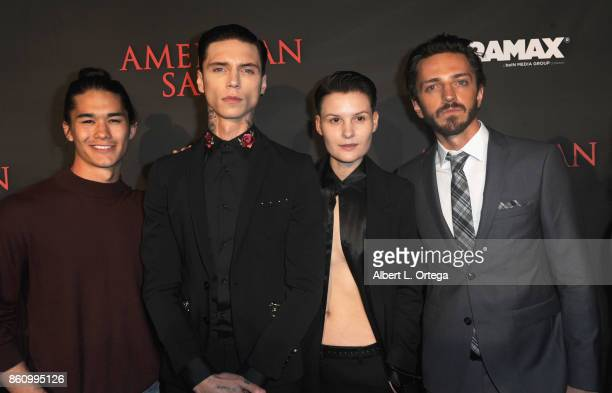 Actors Boo Boo Stewart Andy Biersack Jesse Sullivan and Sebastian Gregory arrive for the Premiere Of Miramax's 'American Satan' held at AMC Universal...