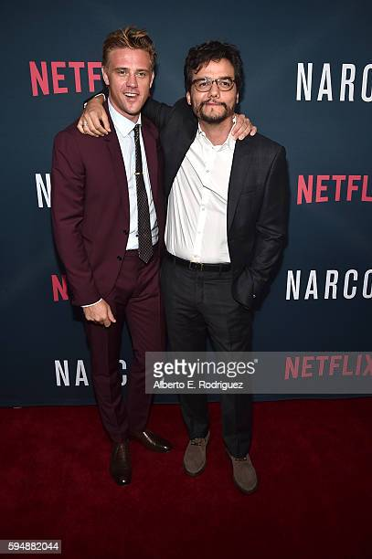 Actors Boyd Holbrook and Wagner Moura attend the Season 2 premiere of Netflix's 'Narcos' at ArcLight Cinemas on August 24 2016 in Hollywood California