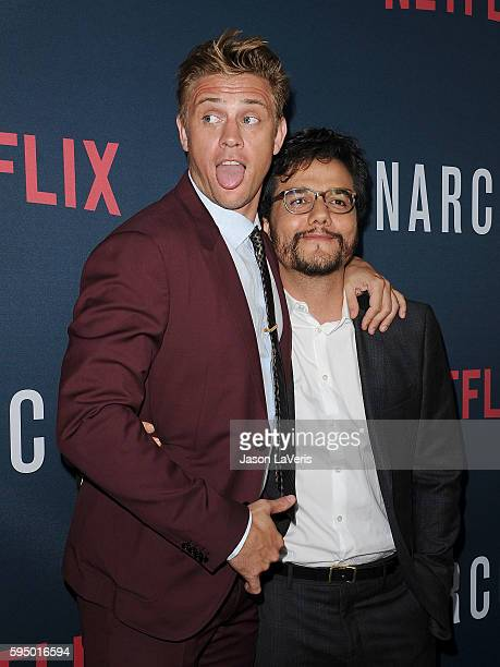 Actors Boyd Holbrook and Wagner Moura attend the season 2 premiere of 'Narcos' at ArcLight Cinemas on August 24 2016 in Hollywood California