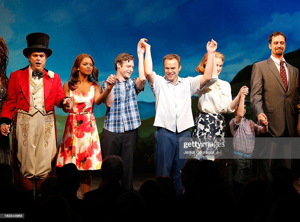 Actors Brad Oscar, Krystal Joy Brown, Bobby Steggert, Norbert Leo Butz, Kate Baldwin and Ryan Andes take a bow during curtain call at the Broadway opening night of 'Big Fish' at Neil Simon Theatre on October 6, 2013 in New York City.
