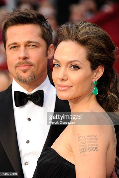 Actors Brad Pitt and Angelina Jolie arrive at the 81st Annual Academy Awards held at Kodak Theatre on February 22 2009 in Los Angeles California