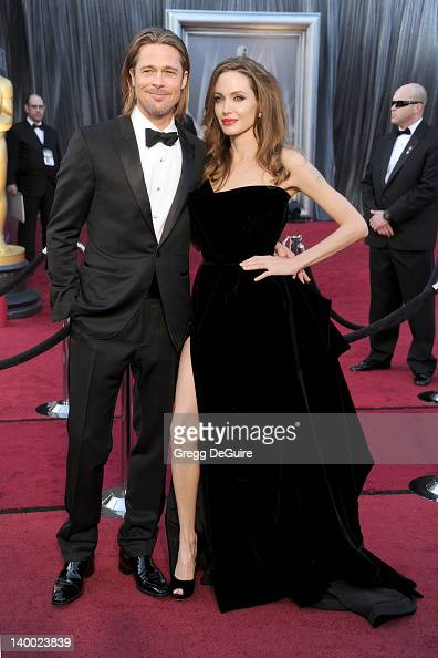 Actors Brad Pitt and Angelina Jolie arrive at the 84th Annual Academy Awards at Hollywood Highland Center on February 26 2012 in Hollywood California