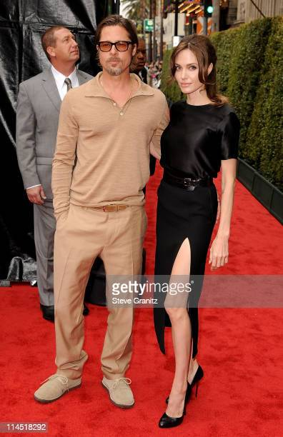 Actors Brad Pitt and Angelina Jolie arrive at the Los Angeles premiere of 'Kung Fu Panda 2' held at Grauman's Chinese Theatre on May 22 2011 in...
