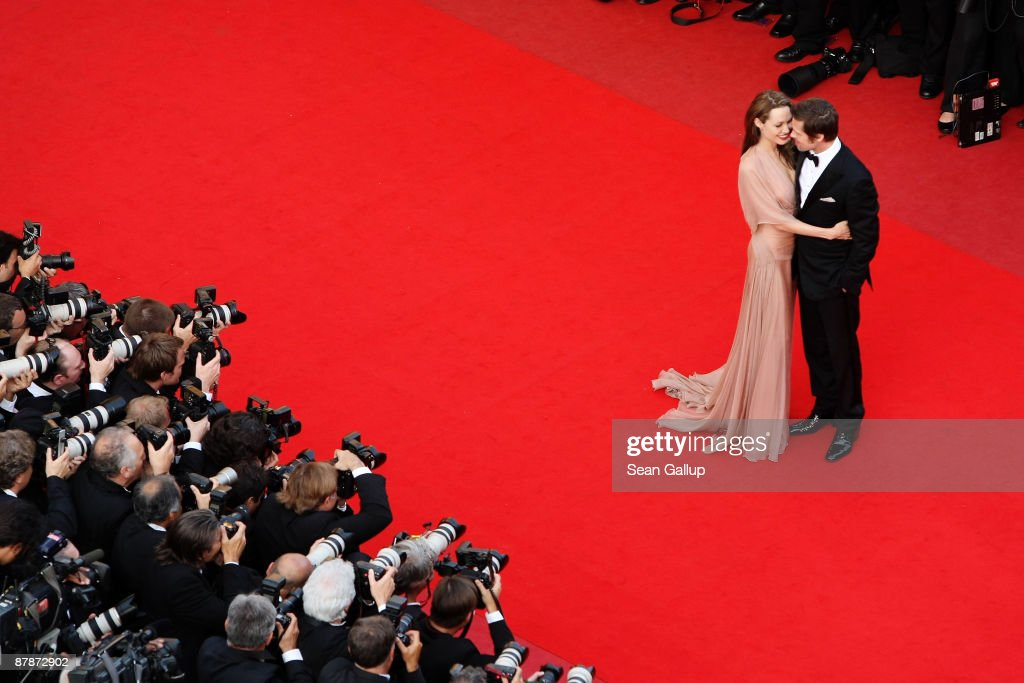 Actors Brad Pitt and Angelina Jolie arrive for the Inglourious Basterds Premiere held at the Palais Des Festivals during the 62nd International Cannes Film Festival on May 20th, 2009 in Cannes, France.