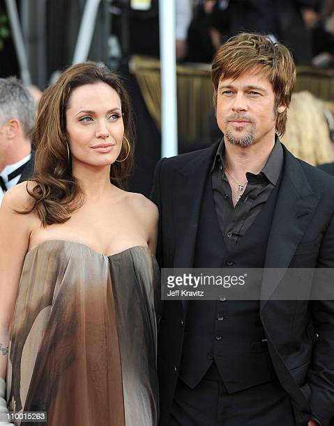 Actors Brad Pitt and Angelina Jolie arrives to the 14th Annual Screen Actors Guild Awards at the Shrine Auditorium on January 27 2008 in Los Angeles...