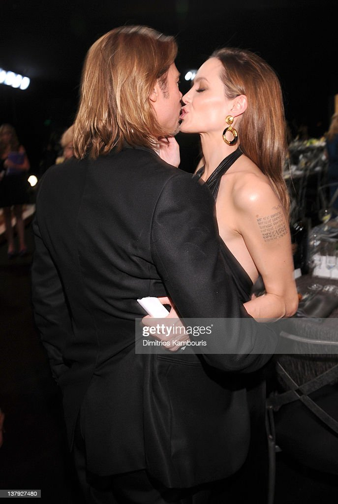 Actors Brad Pitt and Angelina Jolie attend The 18th Annual Screen Actors Guild Awards broadcast on TNT/TBS at The Shrine Auditorium on January 29, 2012 in Los Angeles, California. (Photo by Dimitrios Kambouris/WireImage) 22005_008_DK_0805.JPG
