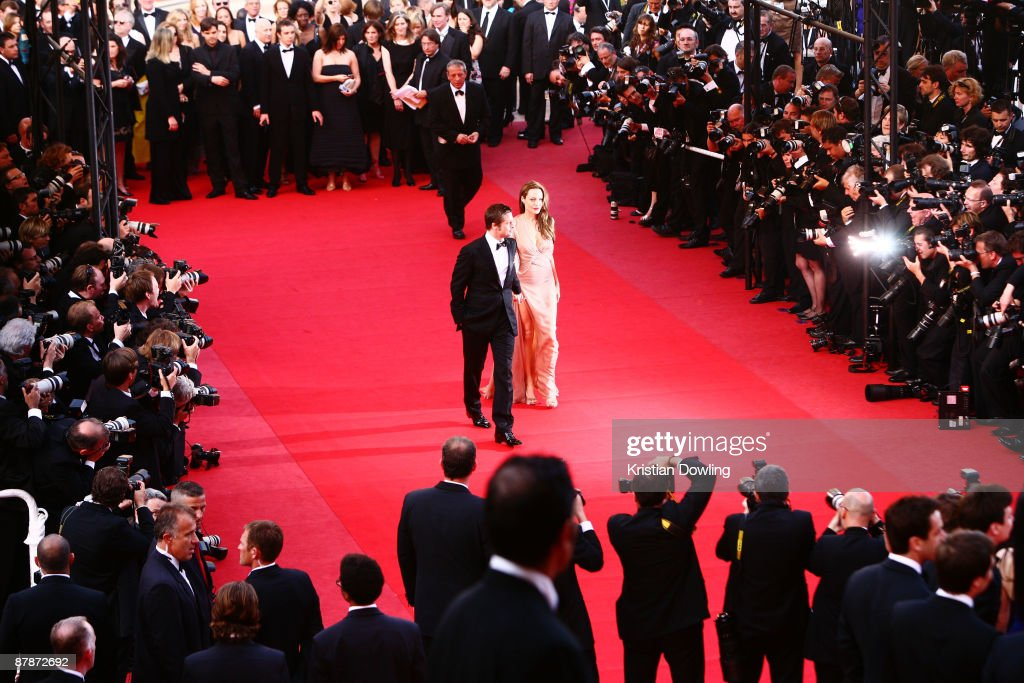 Actors Brad Pitt and Angelina Jolie attend the Inglourious Basterds Premiere held at the Palais Des Festivals during the 62nd International Cannes Film Festival on May 20th, 2009 in Cannes, France.