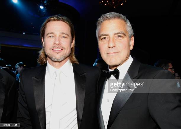 Actors Brad Pitt and George Clooney attend the 17th Annual Critics' Choice Movie Awards held at The Hollywood Palladium on January 12 2012 in Los...