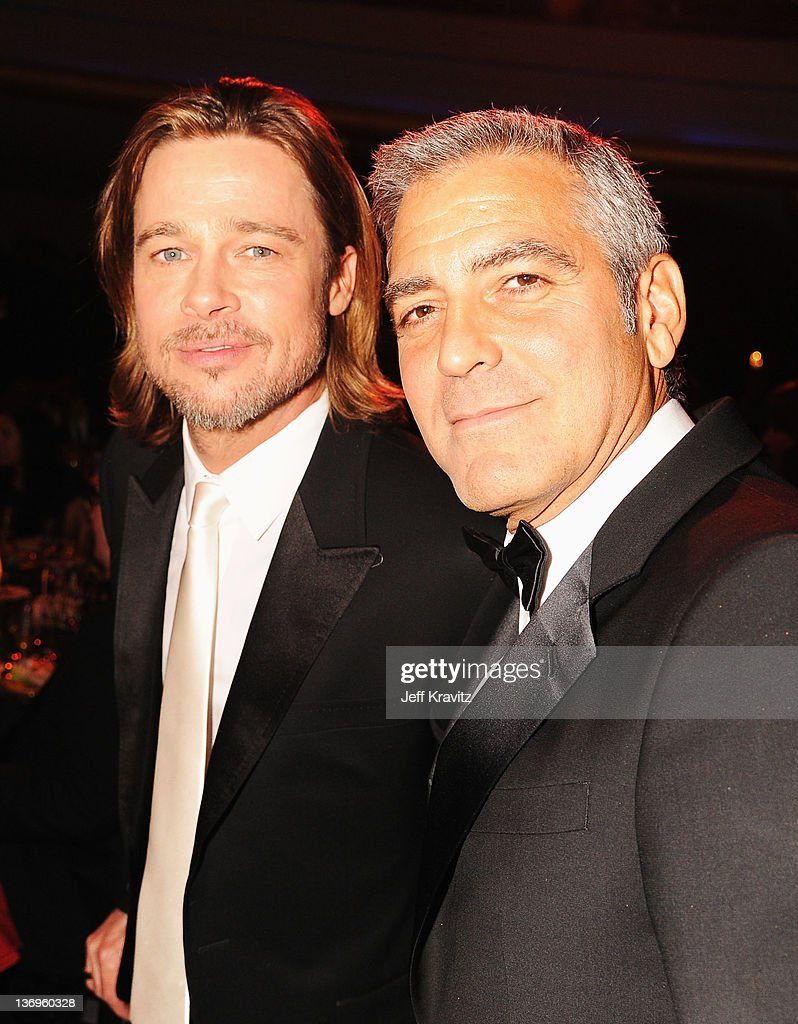 Actors <a gi-track='captionPersonalityLinkClicked' href=/galleries/search?phrase=Brad+Pitt+-+Actor&family=editorial&specificpeople=201682 ng-click='$event.stopPropagation()'>Brad Pitt</a> and <a gi-track='captionPersonalityLinkClicked' href=/galleries/search?phrase=George+Clooney&family=editorial&specificpeople=202529 ng-click='$event.stopPropagation()'>George Clooney</a> attends the 17th Annual Critics' Choice Movie Awards held at The Hollywood Palladium on January 12, 2012 in Los Angeles, California.
